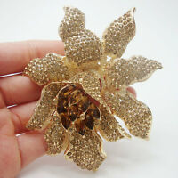 Fashion Jewelry Orchid Flower Brown Rhinestones Crystal Brooch Pin Gold-Tone