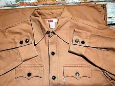 VINTAGE 1960`S Levi Big e spessa CAMEL Denim Work Shirt/Jacket USA grande