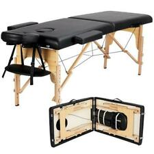 """New Massage Table Spa Bed 84"""" Long Portable 2 Folding W/ Carry Case Black"""