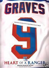 ADAM GRAVES NEW YORK RANGERS RETIREMENT NIGHT PROGRAM 2/3/2009 RARE NUMBERED