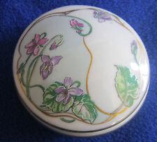 Limoges Castel Trinket Box Art Nouveau Violets Gold Trim  Dresser Jar