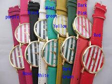 New 10pc/Lot Geneva Ladies Women Fashion Leather Stripe watches Wrist Watch