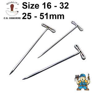 C.S. Osborne Upholsterers T-Pins / T-Head Pins - 25-53mm 1/2 Lb (350-1300) Box