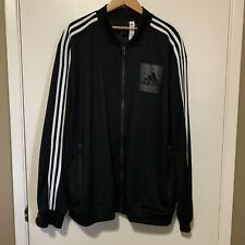 Adidas Zip Up Jacket Men XL Black Three Stripes