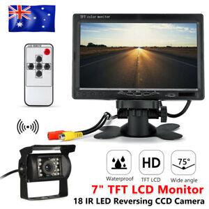 """7"""" TFT LCD Monitor Reversing Camera Night Vision Car Rear View Kit HD 18 LED IR"""
