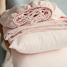 Linen Sheet Set,100% French Linen Flat Fitted Bedding Queen King Double Pink