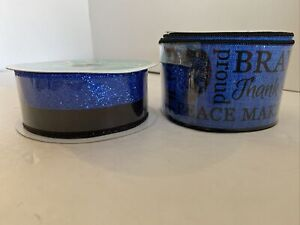 """2 Black and Blue Wired Ribbons 2.5""""x10 Yards & 1.5""""x10 Yards Police Support Hero"""