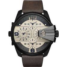 Diesel Men's Uber Chief Brown Antiqued Leather Watch 55x62mm Watch DZ7391 NEW!