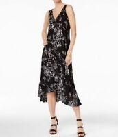 Grace Elements Womens Dress High Low Midi Black White Etched Print Floral Dress