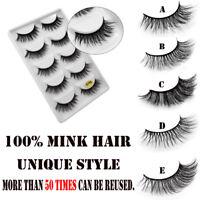 5Pairs 3D Natural Thick False Fake Eyelashes Eye Lashes Makeup Extension Long