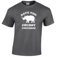 Kids Save The Chubby Unicorns Mens Funny T Shirt S-5XL rhino gift Childrens gift