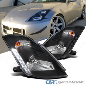 """For 03-05 Nissan 03-05 350Z Z33 Fairlady Black """"HID"""" Projector Headlights+LED"""