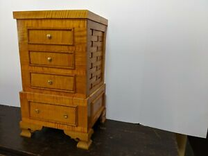 Antique Queen Anne Handmade NEW French Polish Tiger Maple Chest (Lingerie)1745