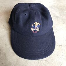Vintage Ralph Lauren Polo Sit Down Bear Wool Hat Fitted Cap Made In USA Duck 93