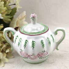 Sugar Bowl Porta Portuguese Pottery Portugal Victoria Pink Green >>> CRAZED <<<