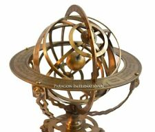 "18"" inch Large Brass Tabletop Armillary Nautical Sphere Globes Antique Engraved"