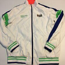 d4a00db1015 Vtg FILA Spellout Mens SONY Open Tennis White Full Zip Jacket Sz S mesh  lined