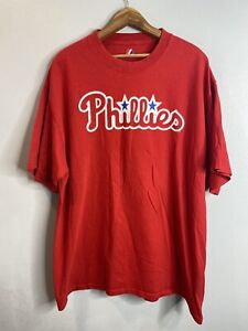 Authentic Jimmy Rollins Phillies  Majestic Jersey T-Shirt Mens XL Red