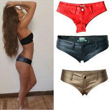 Low Waist Wetlook Mini Shorts Glänzend Hotpants Panty Hot Pants Stretch GoGo