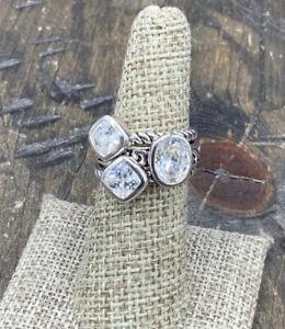 Barse Glisten Stack Ring- Clear Quartz- Silver Overlay- 7-NWT