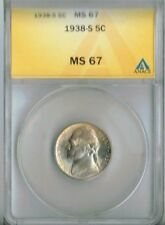 1938-S San Francisco ANACS Authenicated Jefferson Nickel Five MS 67!