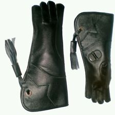 Eagle and Falconry Glove 4 Layers Nubuck Leather 16 Inches Long, Shiny Black