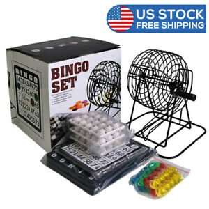 8 Inch Metal Bingo Cage Include Bingo Chips&White Balls Home Bingo Game Set
