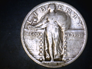 """1921 25C Standing Liberty Quarter Rare Key Date Weak Date only""""1"""" showing filler"""