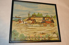 Vintage Stagecoach Needle-Point Framed Horses Ship