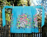 VIntage 70's Turquoise Bright Large Floral Print Cotton Hostess Half Apron