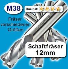 12mm Fräser L=110 Z=2 M38 Schaftfräser Metall Kunststoff Holz vergl. HSSE HSS-E