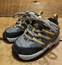 """Adidas Sz 3K Baby Running Shoes Black Gray Yellow Lace-Up Non-Marking 5"""" Long"""