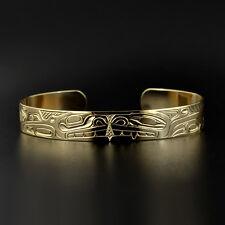 """Haida Shawn Edenshaw 14k Cuff Bracelet 3/8"""" Wolf and Orca Symbol of Family"""
