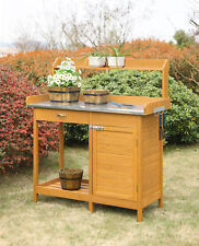 Planters and Potts Deluxe Potting Bench with Cabinet, Light Oak Finish