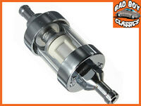 """Motorcycle Mini Chrome & Glass Fuel Petrol Inline Filter 5/16"""" 8mm"""