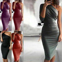 One Shoulder Party Midi Women Dress Bodycon Club Evening Cocktail Pencil Dresses