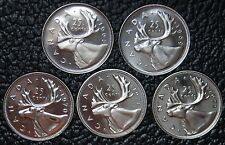 CANADIAN GEM 25 CENT QUARTERS - LOT OF 5 - 1968-1972 - Pulled from PL Sets - NCC