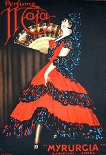 Perfume Maja Myrurgia Hand Pulled Lithograph Vintage 27x39 FREE SHIP