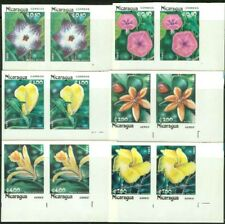 Nicaragua 1985 Flowers set imperf matched margin pairs