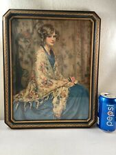 Vtg 1920-30's ALICE BLUE GOWN Arthur Garrett Beautiful Woman Shawl Print Framed