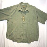 NWT Cabana by CDF Short Sleeve Button Down Camp Shirt Mens Sz 2XL Green Hawaiian