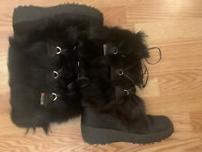 BRAND NEW PAJAR GOAT FUR BOOTS BLACK ITALY SIZE 10 41 SKI  WARM ALL WEATHER