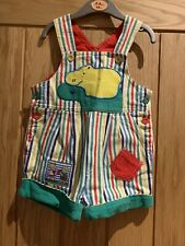 Baby Boy Striped Multi Coloured Dungarees Size 68  (6 months).