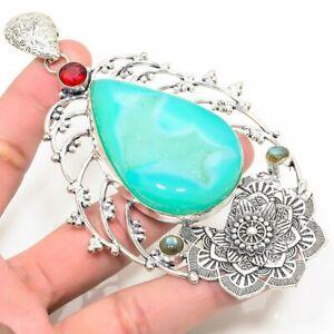 "Aqua Lace Agate, Red Garnet Handmade Ethnic Style Jewelry Pendant 4.33 "" LL"