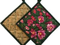Handmade Quilted Pot Holders, Green & Pink Floral Pattern, Hot Pads, Set of 2