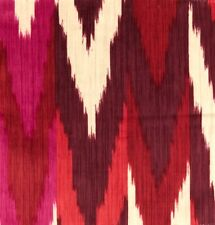 SCHUMACHER Kashgar Ikat Ruby Plum Pink Cotton Remnant New