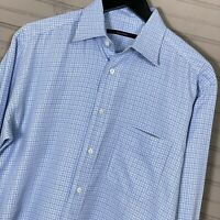 Billy Reid L/S Button Shirt 100% Cotton Blue Check Made in Italy Men's Size M