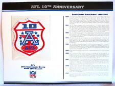AMERICAN FOOTBALL LEAGUE ~ AFL 10th ANNIVERSARY PATCH CARD Willabee & Ward 1969