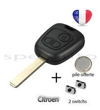 plip coque clé Citroen C1 C2 C3 C4 C5 C6 C8 xsara berlingo saxo + pile + 2switch