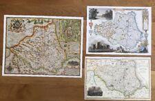 3 x Old Antique Colour maps of Durham, England: 1600's & 1800's: Reprint